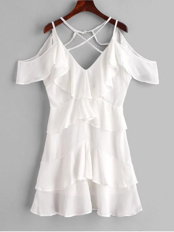 ladies Ruffles Criss Cross Cold Shoulder Dress - MILK WHITE L