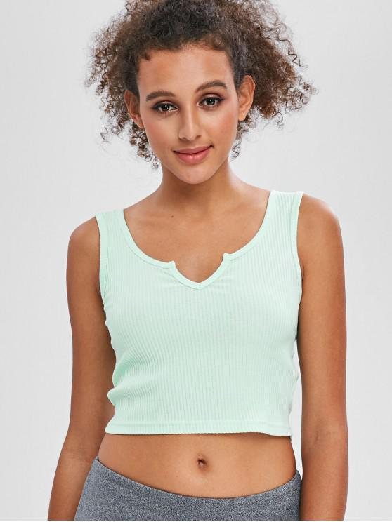 affordable Ribbed Scoop Crop Tank Top - PALE BLUE LILY S