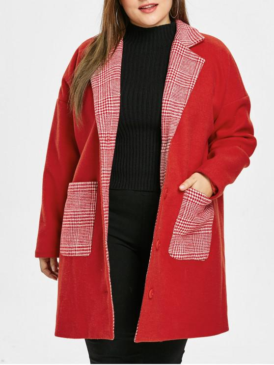 lady Plus Size Plaid Pockets Christmas Coat - RED 2X