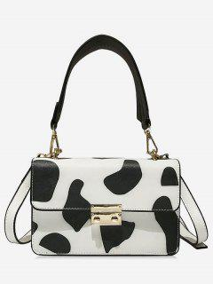 Cow Pattern Leather Shoulder Bag - White