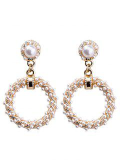 Baroque Faux Pearl Ring Stud Drop Earrings - Gold