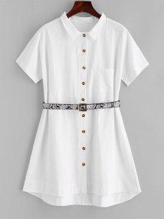 ZAFUL Robe Chemise à Poches Devant Avec Ceinture - Blanc L