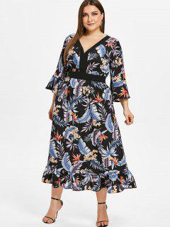ZAFUL Floral Plus Size Flare Sleeve Flounce Dress - Black 2x