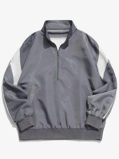 Half Zipper Pullover Jacket - Light Gray Xl