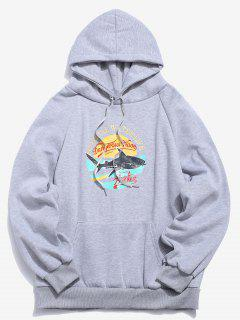 Shark Graphic Fleece Pull à Capuche - Gris Xl