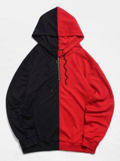 Top Zipper Color Block Hoodie - Black Xs