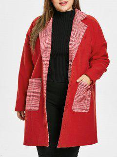 Casaco De Natal Plus Size Bolsos Xadrez - Vermelho L