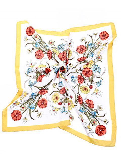 hot Flower Pattern Square Shape Scarf - MULTI  Mobile