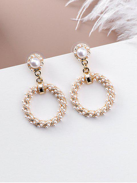 womens Baroque Faux Pearl Ring Stud Drop Earrings - GOLD  Mobile