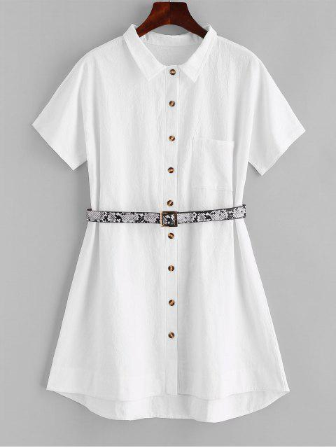 online ZAFUL Belted Front Pocket Shirt Dress - WHITE L Mobile