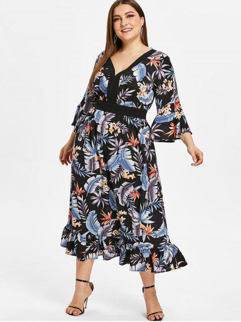 shops ZAFUL Floral Plus Size Flare Sleeve Flounce Dress - BLACK 1X Mobile
