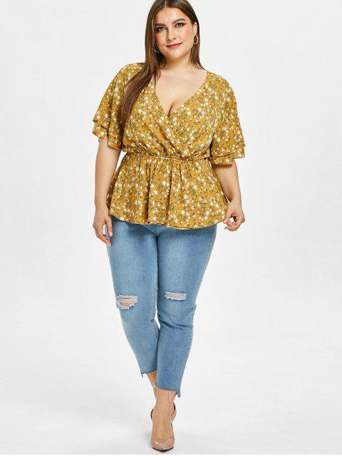 women's ZAFUL Floral Plus Size Surplice Backless Blouse - GOLDEN BROWN 1X Mobile
