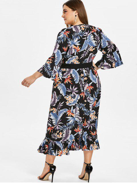 outfit ZAFUL Floral Plus Size Flare Sleeve Flounce Dress - BLACK 2X Mobile