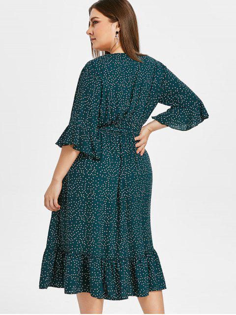 outfits ZAFUL Surplice Plus Size Polka Dot Flounce Dress - GREENISH BLUE 2X Mobile