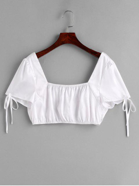 fashion ZAFUL Knotted Satin Crop Blouse - WHITE M Mobile