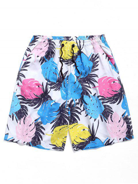 fancy Leaves Print Drawstring Beach Shorts - MULTI 2XL Mobile