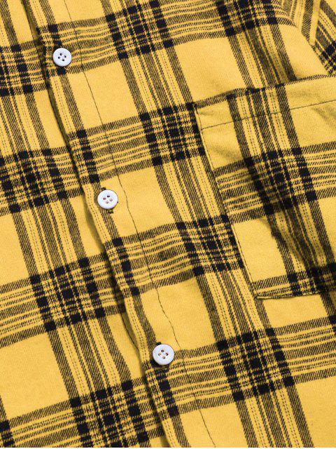 Chemise à Rartan avec Poche Poitrine - Jaune XS Mobile