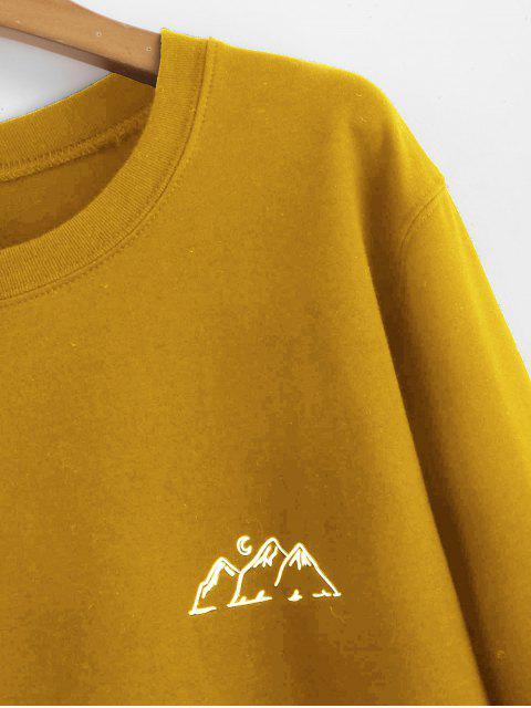 online Moon Mountains Graphic Sweatshirt - BEE YELLOW 2XL Mobile