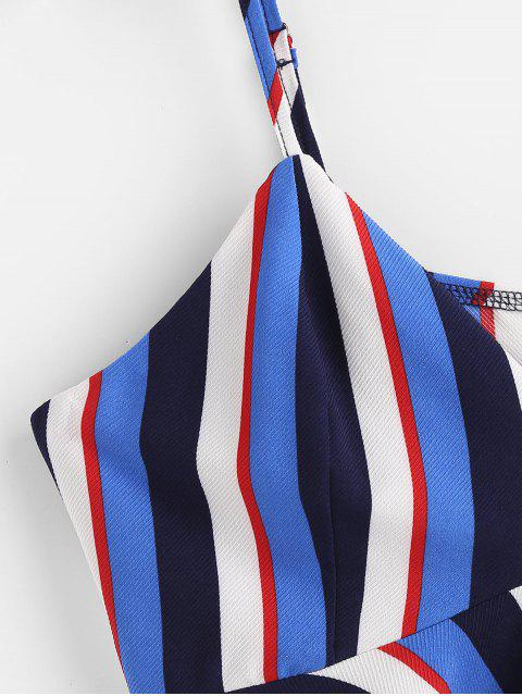 ZAFUL Robe à Bretelle Rayée à Volants - Bleu profond L Mobile