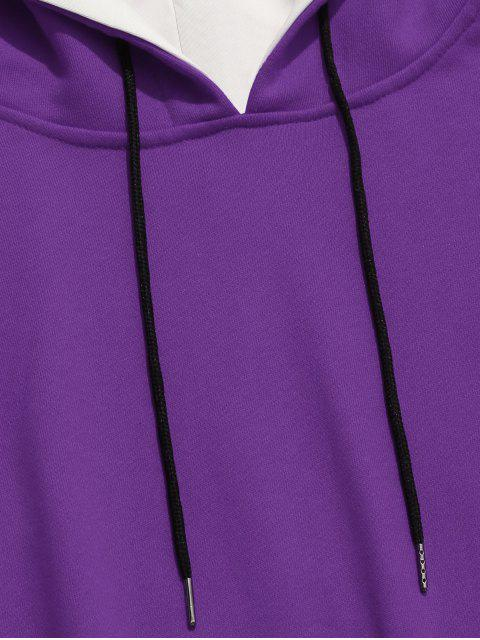 women's Two Tone False Two Piece Casual Hoodie - PURPLE M Mobile