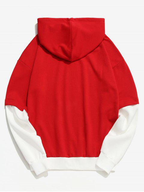 lady Two Tone False Two Piece Casual Hoodie - RED S Mobile
