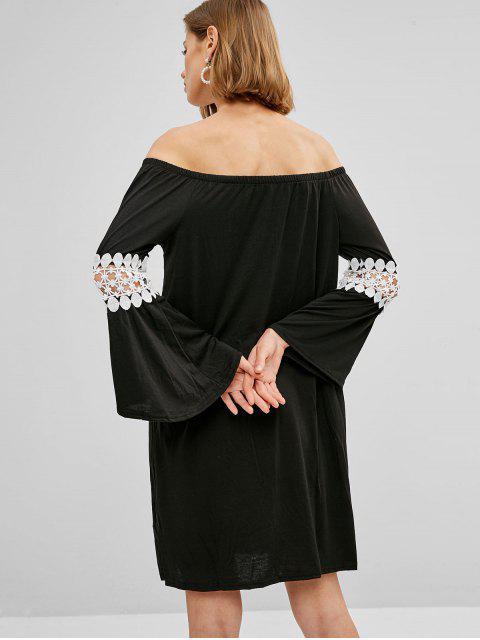 Robe Panneau au Crochet à Epaule Dénudée - Noir S Mobile