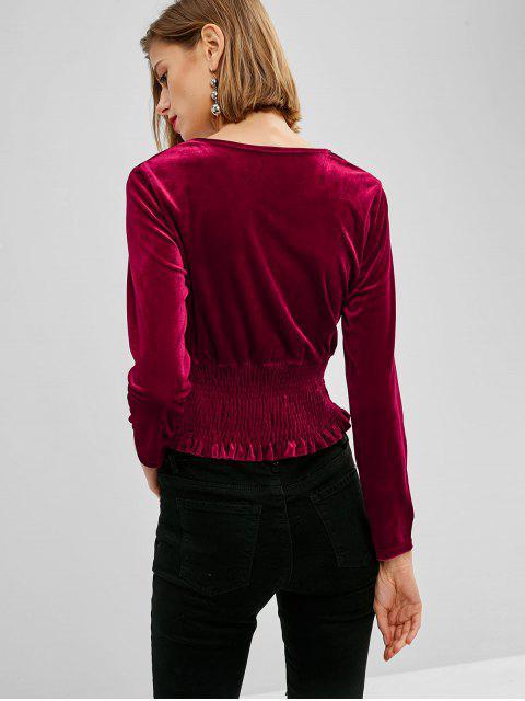 Haut Taille Plissée en Velours - Rouge Vineux Taille Unique Mobile