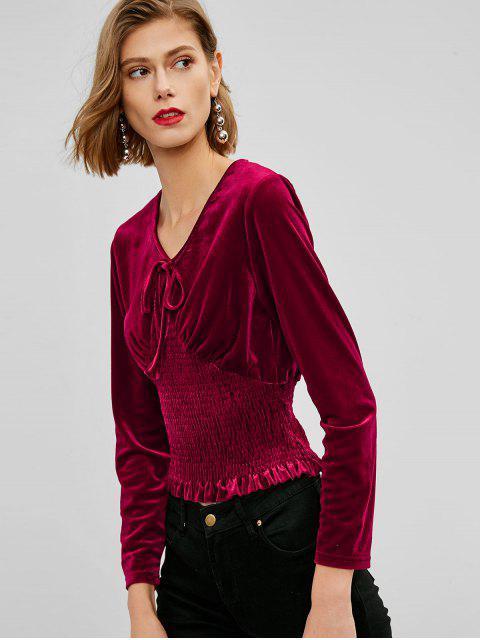 trendy Smocked Waist Velvet Top - RED WINE ONE SIZE Mobile