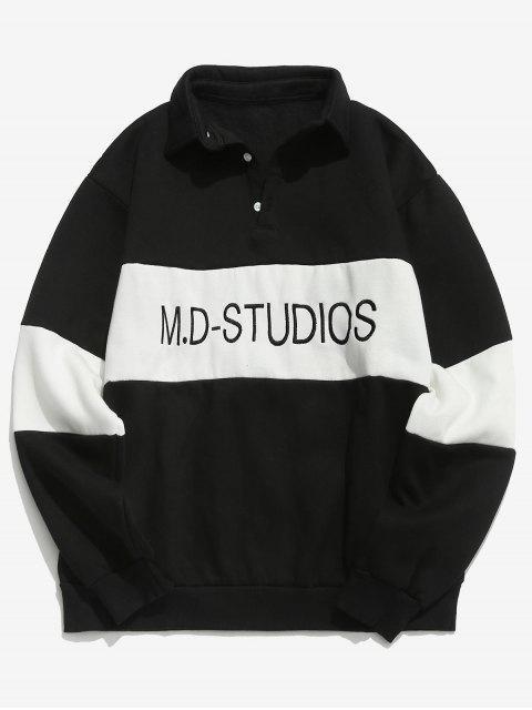 shops Colorblock Letter Embroidered Fleece Sweatshirt - BLACK M Mobile