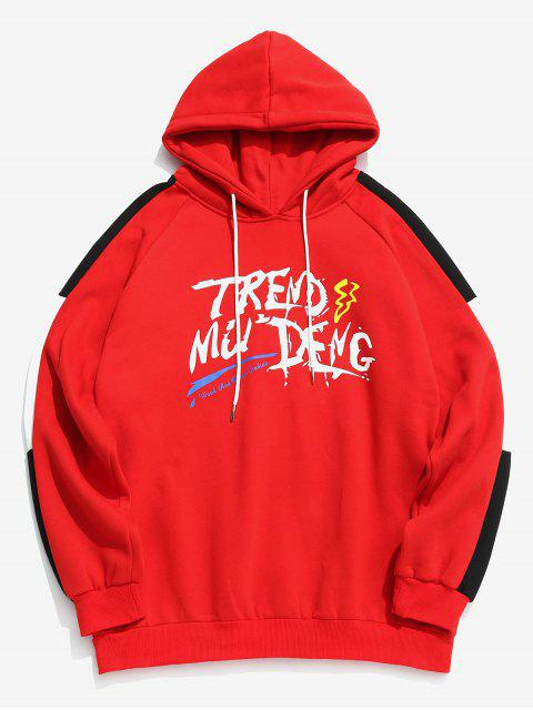 outfit Chest Graffiti Letter Print Fleece Hoodie - RED 2XL Mobile