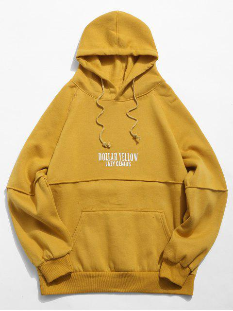 best Letter Seam Soft Fleece Hoodie - YELLOW XL Mobile
