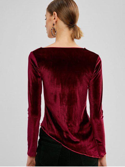 chic Ruched Velvet Asymmetrical Top - PLUM PIE M Mobile