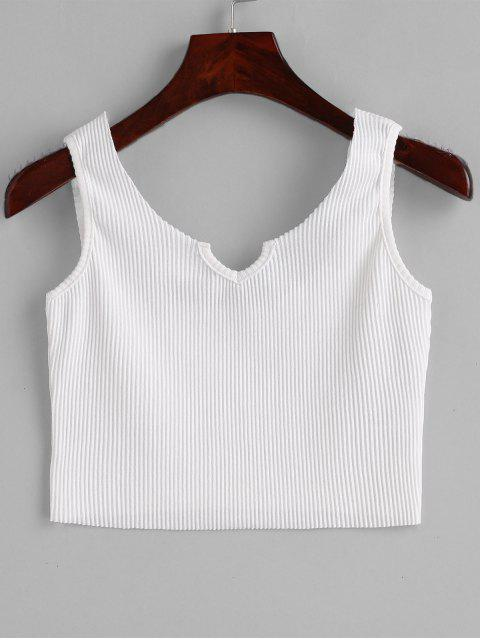 sale Ribbed V Neck Crop Tank Top - WHITE ONE SIZE Mobile