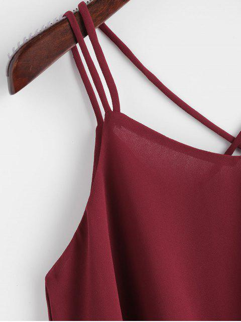 ladies Strappy Chiffon Lace Trim Top - RED WINE S Mobile