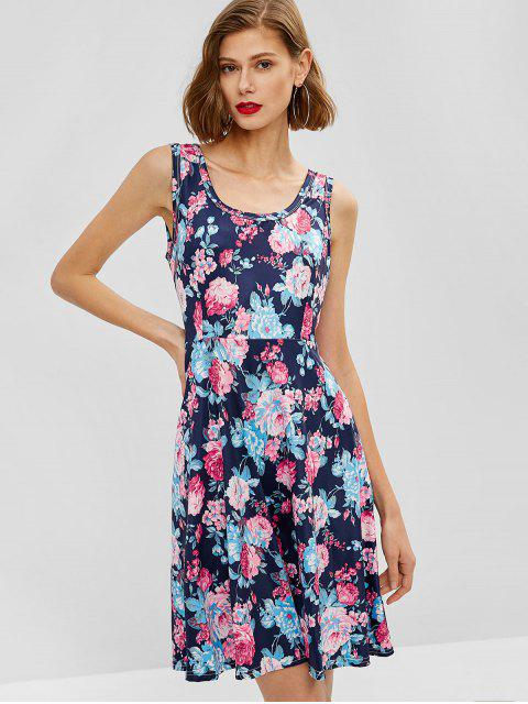 lady Floral Print Sleeveless Flare Dress - DEEP BLUE L Mobile