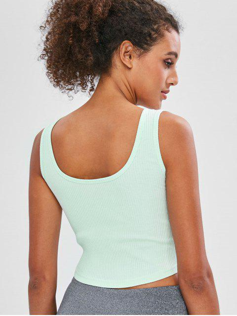 buy Ribbed Scoop Crop Tank Top - PALE BLUE LILY M Mobile