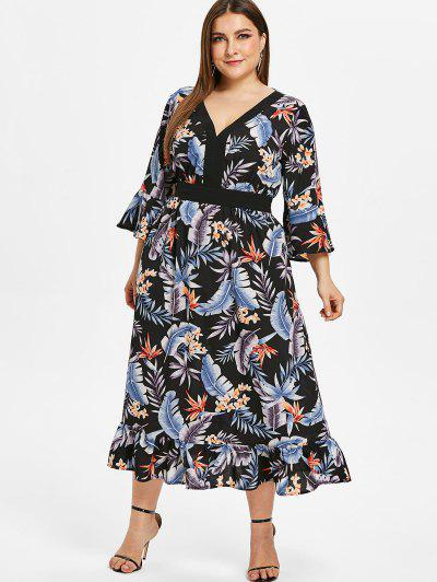 811f5dba009 ZAFUL Floral Plus Size Flare Sleeve Flounce Dress - Black 1x ...