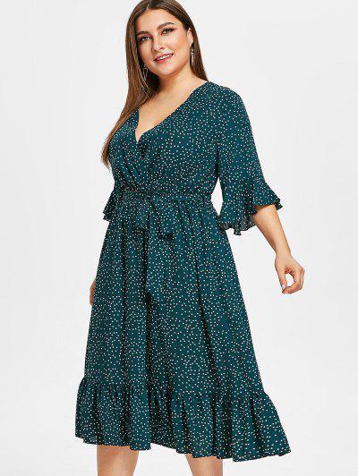 818cffec8eb ... ZAFUL Surplice Plus Size Vestido De Volante De Lunares - Azul Verdoso 2x