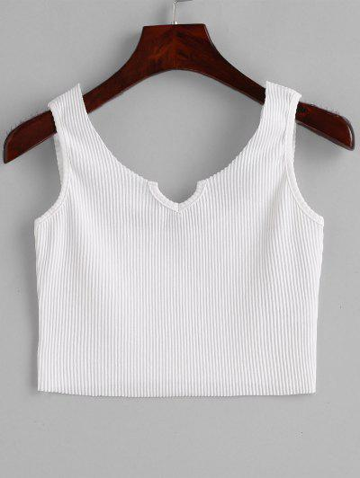 31e505f86a612 Ribbed V Neck Crop Tank Top - White