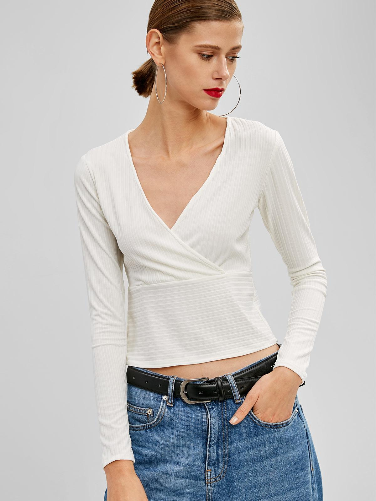 Crossover Ribbed Top, White