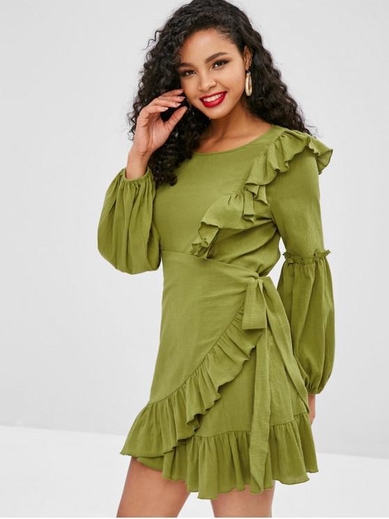 women's ZAFUL Plain Ruffles Overlap Dress - AVOCADO GREEN XL