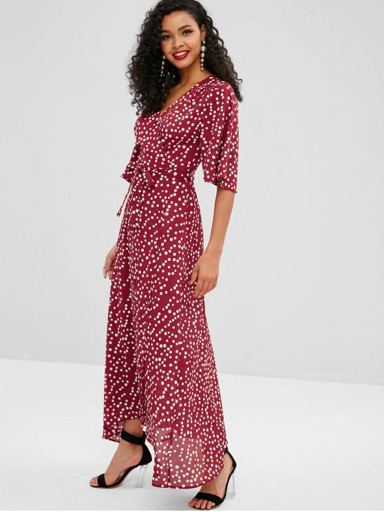 best ZAFUL Polka Dot Long Wrap Dress - MULTI L