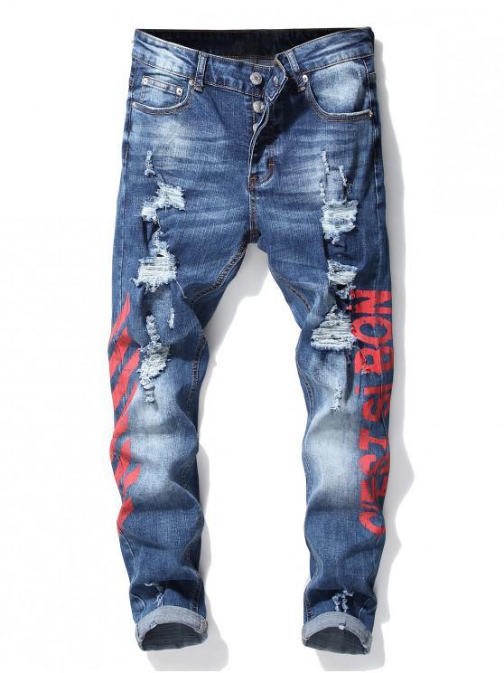 Jeans Strappati Stampati A Lettere A Righe - Rosso 38