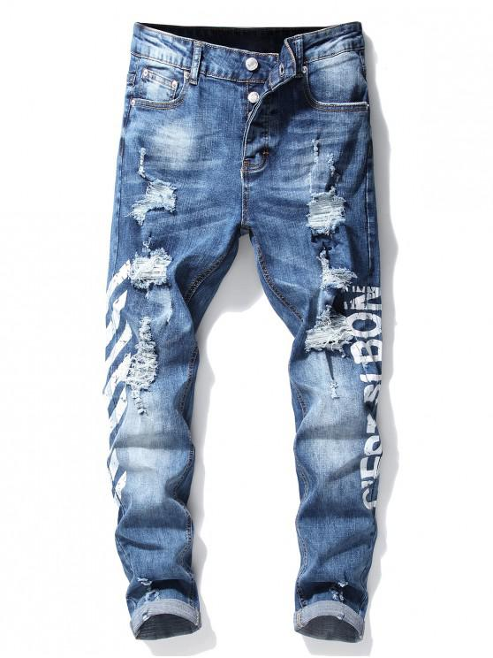 new Stripe Letter Ripped Jeans - WHITE 32