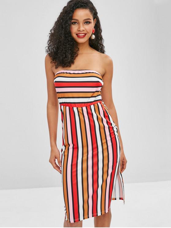 ZAFUL Stripes Slit Tube Dress - Multicolor L