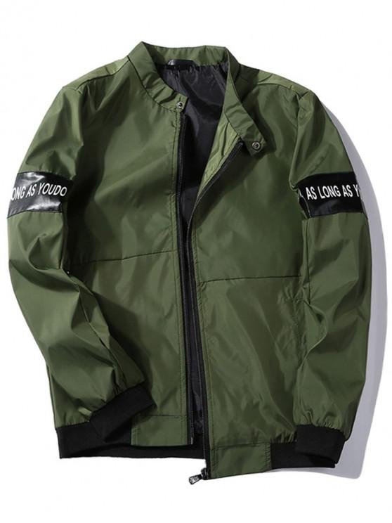 hot Zip Up Letter Print Jacket - CAMOUFLAGE GREEN S