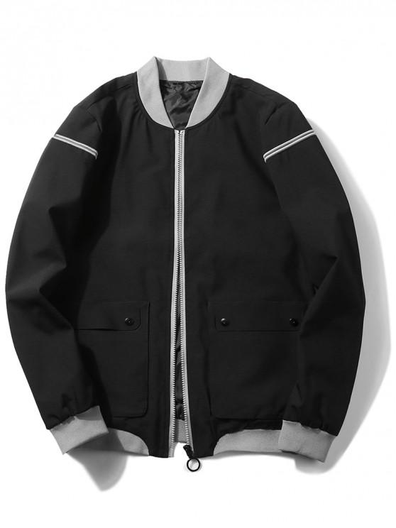 trendy Zip Up Front Pocket Jacket - BLACK S