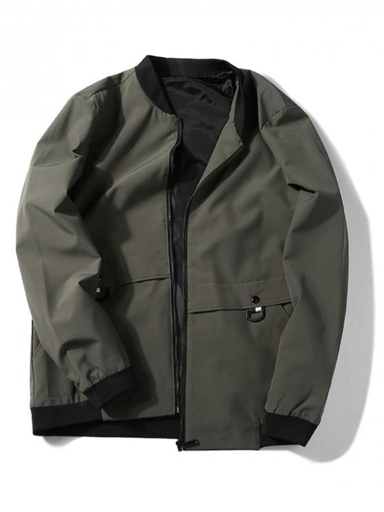 affordable Applique Zip Up Jacket - CAMOUFLAGE GREEN M