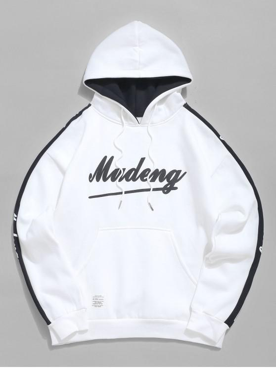 lady Contrast Letter Pocket Fleece Hoodie - WHITE 2XL