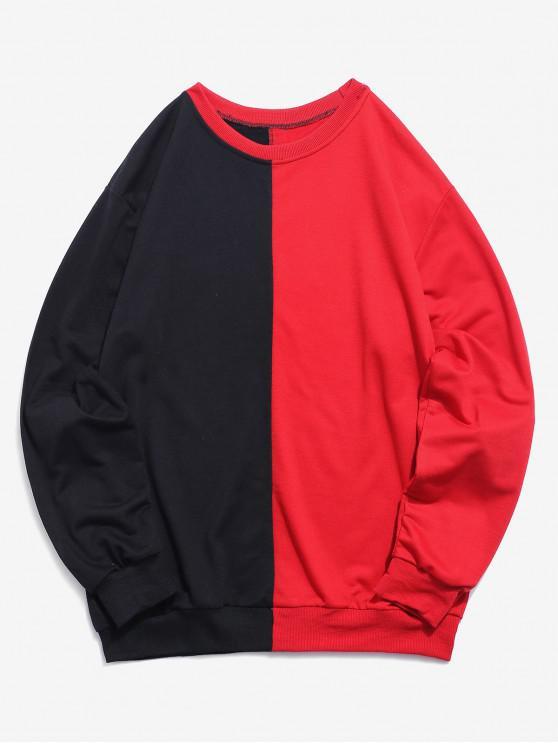 best Color Block Patchwork Sweatshirt - BLACK XS